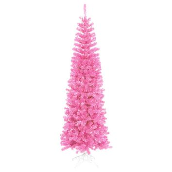 9' Pre-Lit Hot Pink Artificial Pencil Tinsel Christmas Tree - Pink Lights