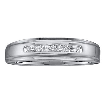 14kt White Gold Men's Round Diamond Channel-set Wedding Anniversary Band Ring 1/12 Cttw - FREE Shipping (US/CAN)