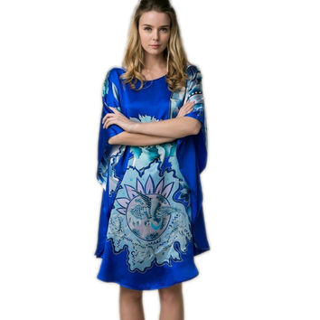 100% Real Silk Women Loose Loungewear Night Skirt Homewear One Piece Plus Size Home Wear Hand Painted Blue Nightgowns YBS00802