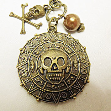 Pirates of the Caribbean Necklace Bronze Coin Medallion Skull Aztec mens womens accessory