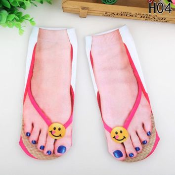 Multiple Colors Harajuku Style 3D socks women Print  Socks Casual Charactor Flip Flop Socks Unisex Low Cut Ankle Socks New