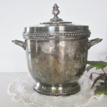 Vintage Silver Plate Ice Bucket Antique Silverplate Ice Bucket Glass Thermos Ornate Silverplate Patina Shabby Cottage Chic Wedding