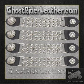 Set of Four Indian Head Nickel Vest Extenders with Chrome Chain / SKU GRL-AC1054-DL