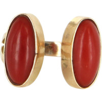 Vintage Red Mediterranean Coral Cuff Ring 14 Karat Yellow Gold Estate Fine Jewelry