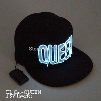 KING QUEEN Glowing Cap New Style LED neon light Glow Party Supplies With 1.5V Steady on Driver
