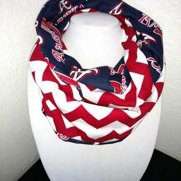 Atlanta Braves Infinity Scarf - Lightweight Cotton, jersey knit - Beautiful, baseball