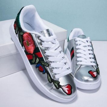 THE Gucci Fashion Flower Embroidery Old Skool Sneakers Sport Shoes Sliver