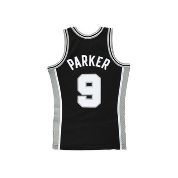 Original NBA Jerseys Number 9 M&N SWINGMAN Retro Jerseys San Antonio Spurs Tony Parker Men's Breathable Basketball Jerseys