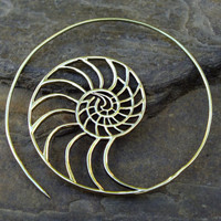 Golden Ratio Shell Fibonacci Earrings (Pair) Phi 1.61 Magic Sacred Geometry Ajjaya of life Tribal Brass Jewellery Jewelry Gypsy