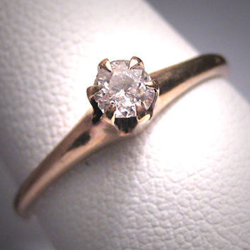 Antique Diamond Wedding Ring 19th Century Victorian Engagement