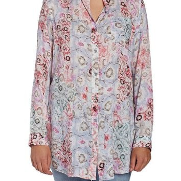 JAG Jeans Magnolia Tunic in Rayon Print - Watercolor