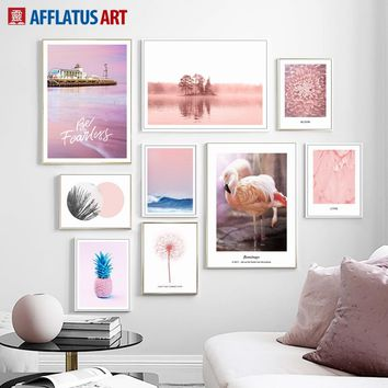 Flamingo Pineapple Flower Sea Landscape Wall Art Canvas Painting Nordic Posters And Prints Wall Pictures For Living Room Decor