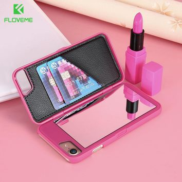 FLOVEME Luxury Mirror Case For iPhone 6 6s Plus 7 7 Plus Samsung Galaxy S7 S7 Edge S8 S8 Plus Cases Fashion Flip Phone Cover