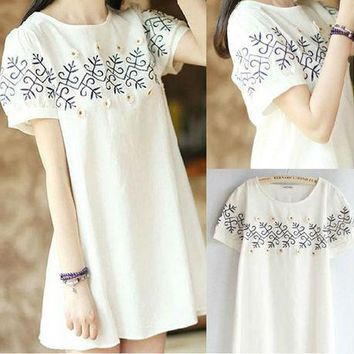 2017 Summer loose embroidery short sleeve linen elegant dress embroidered fluid one-piece dress plus size clothing dress 343