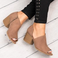Peep Toe Cutout Booties - Nutmeg