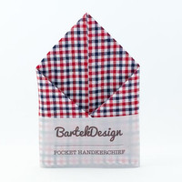 Pocket Handkerchief by BartekDesign Red Blue White Checkered