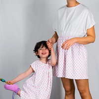 Mother daughter polka dot dresses, white pink dresses for sisters, mother's day gift, couple of matching dresses