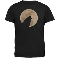 Wolf Howling Moon Silhouette Mens T Shirt