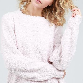 Berber Fleece Crewneck Sweater - Powder Pink by POL Clothing