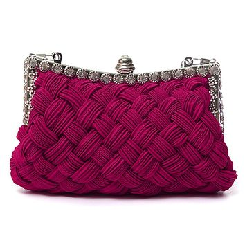 Womens Weaved Satin Party Evening Bag Handbag Wedding Clutch Purse Shoulder Bags