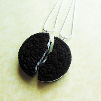 polymer clay oreo cookie best friend friendship necklaces bff necklaces