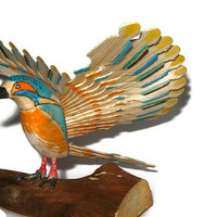 Kingfisher Landing Wooden Standing Bird, Lake House Cabin Cottage Decor, Nature Animals Home Decor, Hand Carved Wood Art Housewarming Gift