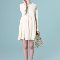 Back Button Smock Dress Cream