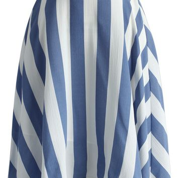 Swaying Chic A-line Skirt in Blue Stripes