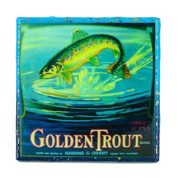 Handmade Coaster Golden Trout Brand - Vintage Citrus Crate Label - Handmade Recycled Tile Coaster