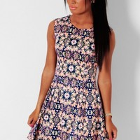 Biba Navy and Neon Pink Abstract Print Skater Dress   Pink Boutique