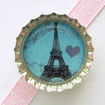 Eiffel Tower Blue Paris Bottle Cap Magnet - eiffel tower decor, french country home, paris wedding favors, french decor, paris theme party