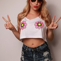 Electric Daisy Glowing Crop Top - Tops - Women's - Neon Nancy