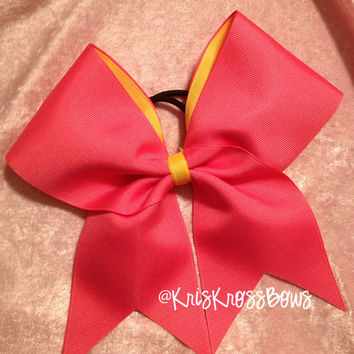 Cheer Bows Pink/Yellow/ Practice Bow