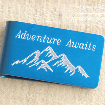 Mountain Money Clip, Adventure Awaits Mountain, Mountain Man Gifts, Minimalist Wallet, Personalized Wallet, Fiance Gift for Him