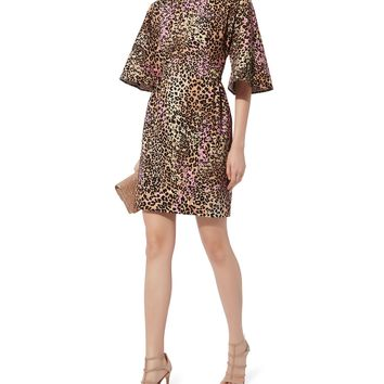 Flutter Sleeve Leopard Dress