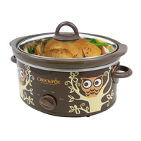 Crock Pot Slow Cooker- Rare Owl Pattern On Oval Pot 4Qt