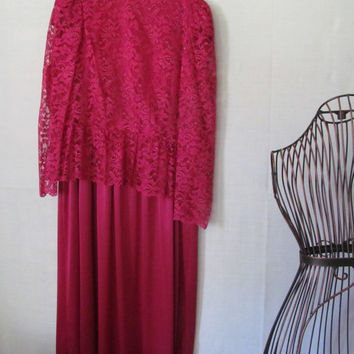 Stunning Lace Dress Burgundy Lace Dress Mother of the Bride Dress Burgundy dress sz  XL 1X Plus size dress Womens 1x