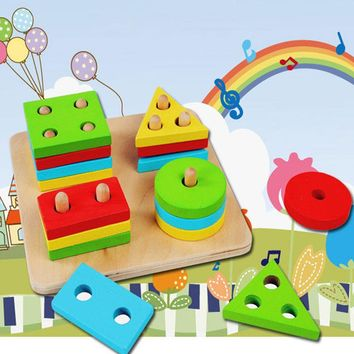 Baby Toy Educational Wooden Geometric Sorting Board Blocks Montessori Kids Baby Educational Toys Building Blocks YH-001