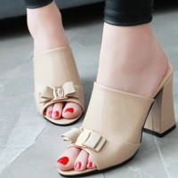 Hot style hot selling high thick heel half drag out sandals women trend