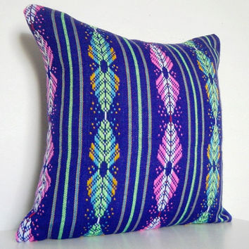 Geometric Pillow Tribal Aztec Bright Purple by CityGirlsDecor