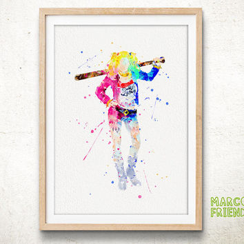 Harley Quinn, Suicide Squad - Watercolor, Art Print, Nursery, Wall Art, Gifts Idea, Home Decor, Watercolor Print, Batman Poster