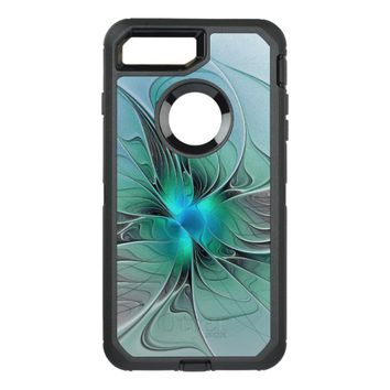Abstract With Blue, Modern Fractal Art OtterBox Defender iPhone 7 Plus Case