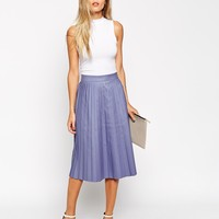 ASOS Midi Skirt with Coated Pleats