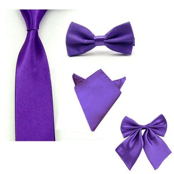 Wedding Prom Mens Bowties and Pocket Squares Elastic Bowtie Men Bow Tie + Necktie + Handkerchief Set Wedding Mens Ties