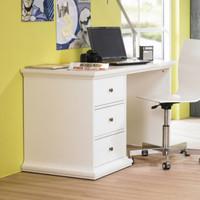 Stylish Computer Desk With Three Drawers Home Office Furniture White Finish New