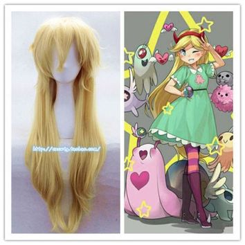 New Star Vs the Forces Of Evil Magic Princess Cosplay Wig Gold Yellow Long Hair Halloween