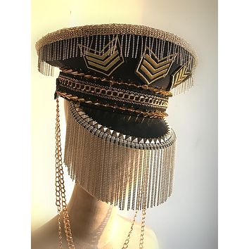 Tassel and Chains Punk Military Hat
