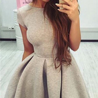 Solid Color Backless Fit And Flare Mini Dress