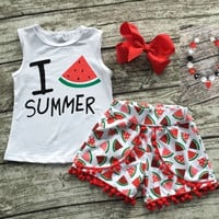 I love Watermelon Summer Outfit and Accesories
