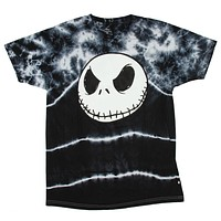 Disney Tim Burton Nightmare Before Christmas Jack Skellington Face Tie Dye Shirt